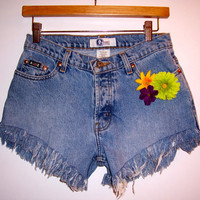Vintage High Waisted Flower Denim Shorts