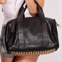 Black Faux Leather Studded Bottom Handbag