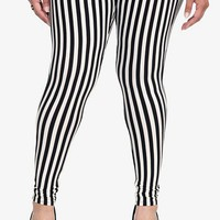 Torrid Black &amp; White Vertical Striped Leggings
