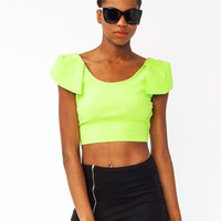 petal-sleeve-cropped-top BLACK IVORY LIME - GoJane.com