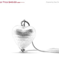 Mothers Day Sale White Heart Necklace, Murano Glass, Sterling Silver