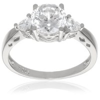 "Platinum Plated Sterling Silver ""100 Facets Collection"" Cubic Zirconia Three-Stone Ring (3 cttw): Jewelry"