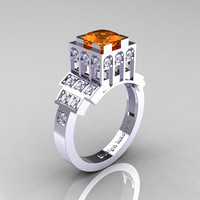 Modern Industrial 14K White Gold 1.23 CT Princess Orange Sapphire Diamond Bridal Ring R316-14KWGDOS