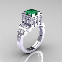 Modern Industrial 14K White Gold 1.23 CT Princess Emerald Diamond Bridal Ring R316-14KWGDEM