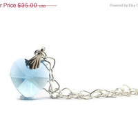 Mothers Day Sale Blue Heart Necklace, Aquamarine Swarovski Crystal