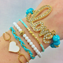 Love Teal Bracelet Stack Set