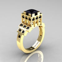 Modern Industrial 14K Yellow Gold 123 CT Princess by artmasters