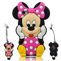 I-need 3d Cartoon Mouse Soft Silicone Case Cover with 3d Anti-plus Minnie Pen for Iphone 5 - Hot Pink