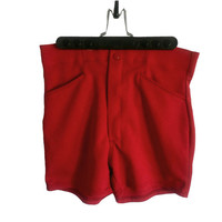 Vintage Red Shorts High Waisted 1970s Two Snap Button and Back Pockets - Athetic Style and Elastic Waistband - Size M