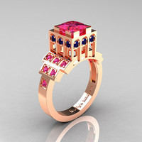 Modern Industrial 14K Rose Gold 1.23 CT Princess Pink Blue Sapphire Bridal Ring R316-14KRGBPS