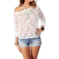 Ivory Lace Dolman Top