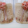 Romantic shabby chic lampshade set rows of ruffles recycled barrel shades adorned in lace tea stained fabric and roses Anita Spero