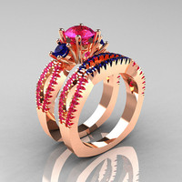 Modern French 14K Rose Gold Three Stone Pink Blue Sapphire Engagement Ring Wedding Band Set R140S-14RGBPS