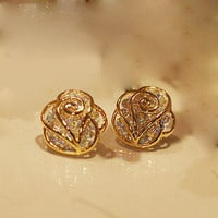 Fashion rhinestone Camellia earrings &stud