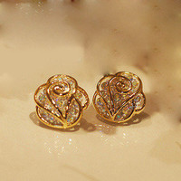 Fashion rhinestone Camellia earrings &amp;stud