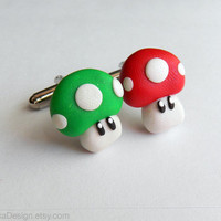 Mushroom Cufflinks Nintendo Mario One Pair Red by OlechkaDesign