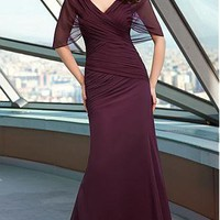 [131.99] Striking Chiffon A-line V-neck Criss Cross Drop Waist  Floor Length Mother of the Bride Dress - Dressilyme.com
