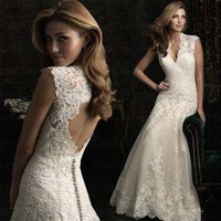 Deep v-neck shoulders lace wedding dress