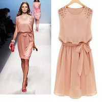 Round collar short sleeve chiffon dress beaded cultivate one's morality