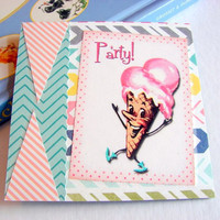 Coaster - Single - Party - Dancing Ice Cream Cone Man - Large Paper Chipboard Decoupage Collage Drink Bar Tea Beverage Coffee