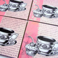 Coaster Set - Tea Cups And Cupcakes With A Cherry On Top - Large Paper Chipboard Decoupage Collage Drink Bar Tea Beverage Coffee