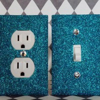 SET of PEACOCK GLITTER Switch plate Outlet Covers ANY STYLES