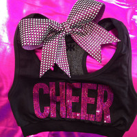 Cheer Sports Bra Top Hot Pink Sequin with Rhinestone Bow Set