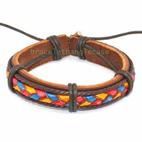 Bangle leather bracelet with leather and cotton ropes tie up for men bracelet women bracelet fashion bracelet friendship d-335