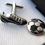 Sport cufflinks - Football Cufflinks - Soccer cufflinks - Foot shoes ball - Mens cuff links - Metal - Silver - Black
