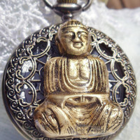 Buddha pocket watch, Men&#x27;s Buddha pocket watch in bronze