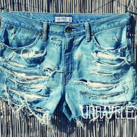 Bleached denim High Waisted Shorts LARGE by UnraveledClothing