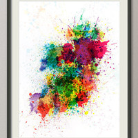 Ireland Map Paint Splashes Art Print on Etsy
