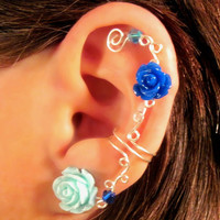 Non Pierced Ear Cuff  &quot;Roses are Dainty&quot; Cartilage Conch Cuff Silver tone and Lucite Roses Wedding Prom Quinceanera