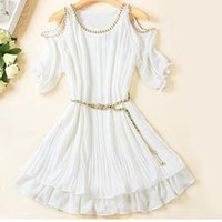 Strapless short sleeve chiffon dress
