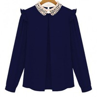 Navy Chiffon Blouse with Peter Pan Collar
