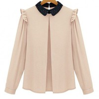 Color Block Chiffon Blouse with Diamante Embellished Collar