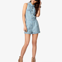Chambray Romper w/ Slit Back | FOREVER 21 - 2045398457