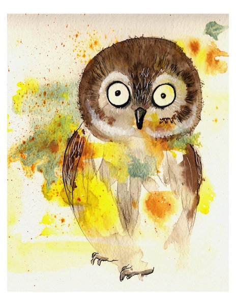 Owl art print cute barn owl colorful from oladesign on etsy for Cute watercolor paintings