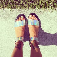 Colorblocked Hologram Sandals