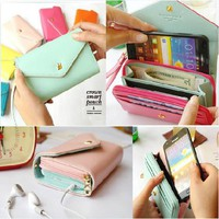 Multifunctional Crown Smart Leather Pouch