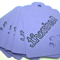 Thanks Tags in Purple set of 15 HANDMADE by the KIDS by justByou