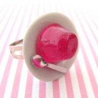 Kawaii Mini Raspberry Jelly Ring in Pink Resin on by GirlOfThe80s