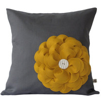 Mustard Yellow Felt Flower 16 DESIGNER PILLOW by JillianReneDecor