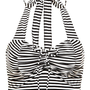 Black & White Striped Halter Bikini Swim Top | Heat Wave