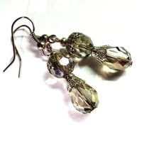 Last pair..Swarovski crystal drop earrings teardrop metalic faceted boho shabby wedding bride bridesmaid  earrings