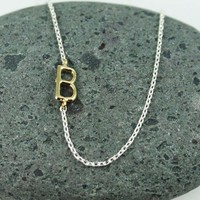 Handmade gold initial B necklace, Bridesmaid necklace, Charm necklace