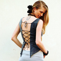 Funky open back top, Criss-cross tying fairy tank top, Backless pixie top