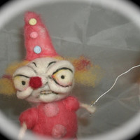 Clown Girl Ooak needle felted  art doll