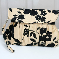 Champagne Clutch black floral wedding clutch - bridesmaid clutch - bridal gift