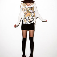 Boxy Tiger Cutout Top